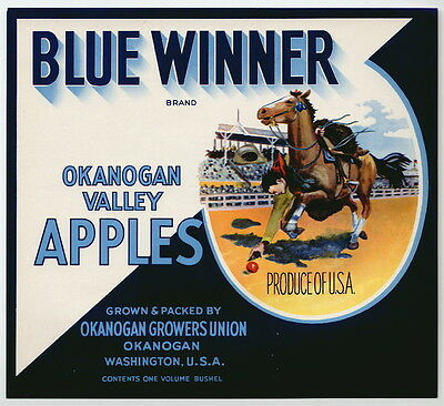 BLUE WINNER Vintage Apple Crate Label, Cowboy, Western, Rodeo, AN ORIGINAL LABEL