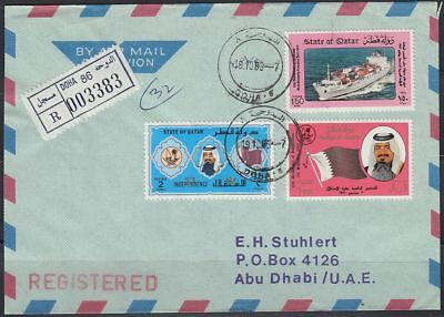 1988 Qatar R-Cover to Abu Dhabi, DOHA label and cds [bl0246]
