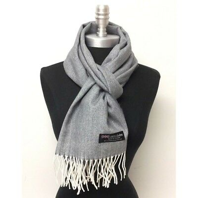 278a229e08024 NEW 100%CASHMERE SCARF HerringBone Tweed Gray White SCOTLAND SOFT Warm Wool  WRAP