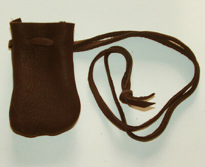 "Medicine Bag Smooth Top Grain Leather 2.5""x3.5"" Long 32"" Drawstring DARK BROWN"