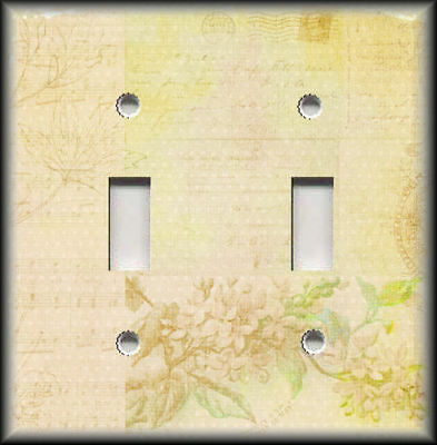 Metal Light Switch Plate Cover - Shabby Chic Decor Floral Letter Light Yellow