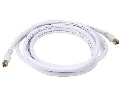 12ft RG6 (18AWG) 75Ohm Quad Shield CL2 Coaxial Cable with F Type Connector White