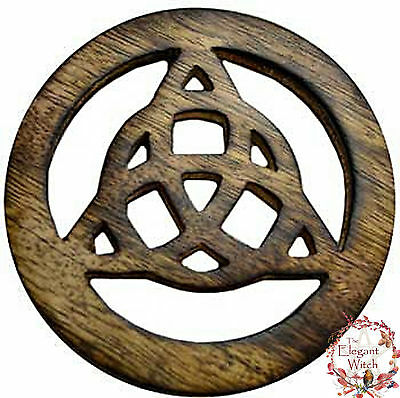 """Altar Tile Charmed Triquetra Knot Celtic Talisman 4"""" Wood Wicca Pagan WItchcraft"""