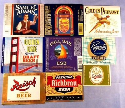 Beer Bottle Labels - Exceptional Lot Of 9 - All Appear Unused