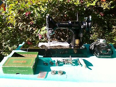 Vintage Singer Featherweight Portable Elec Sewing Machine 221k 1952 Accessories