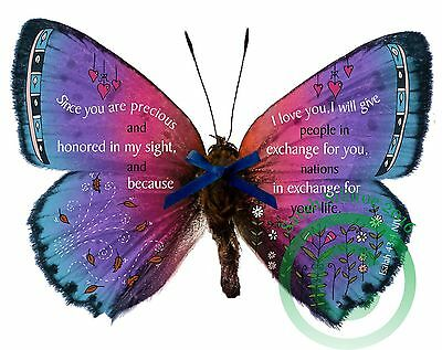 Bible Verse Isaiah 43 v 4, 3D Illustrated Butterfly Wall Art Print Gift, Present