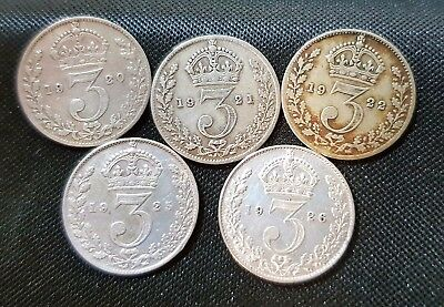 1920-1926 George V Silver Threepence First Design Choice Of Date Fine Or Better