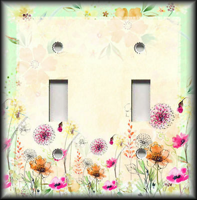 Metal Light Switch Plate Cover - Watercolor Wildflowers Home Decor Yellow Green