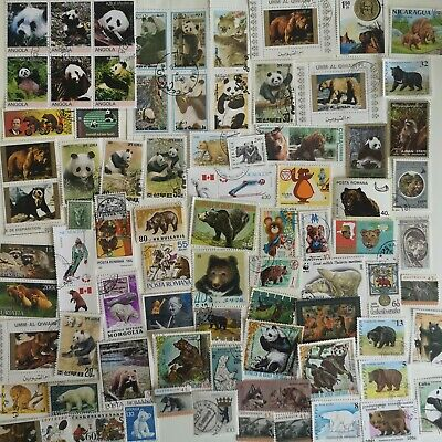 100 Different Bears/Pandas on Stamps Collection