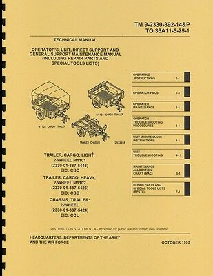 TM9 2330 392 14&P ~ M1101 trailer ~ Maint & Spare Parts Manual ~ 1995 ~ Rprint
