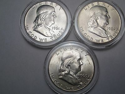 3 BU US Franklin Half Dollars: 1961, 1962-d & 1963-d.  #16