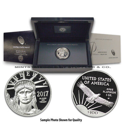2017-W $100 1 oz Platinum Eagle Proof coin OGP w/ Original U.S. Mint Box and CoA