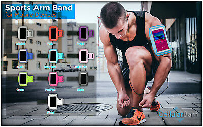Exercise Running Jogging GYM Armband Case Pouch Holder for Large Phones (B)