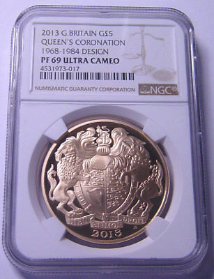 Great Britain £5 Gold 2013 NGC PF69UC Queen's Coronation  Mtg:148 pieces Very RR