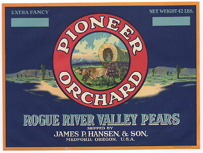PIONEER ORCHARDS Vintage Pear Crate Label, Wagon, Settler, b, AN ORIGINAL LABEL