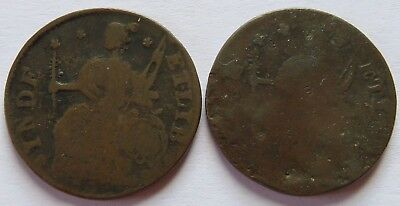 2 Colonial Connecticut Cents, Vintage Early American Penny coins (112059C)