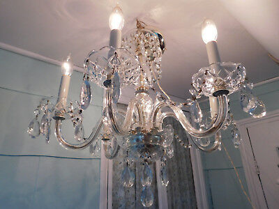antique 1940s crystal chandelier ceiling fixture lamp art deco lighting elegant