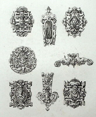 Antiques Decoration Retable Ornament Floral Architecture Engraving Riester Clerget