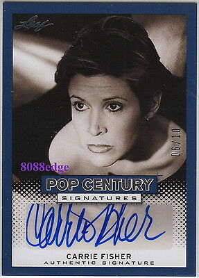 "2013 Pop Century Auto: Carrie Fisher #6/10 Autograph ""Star Wars/Blues Brothers"""