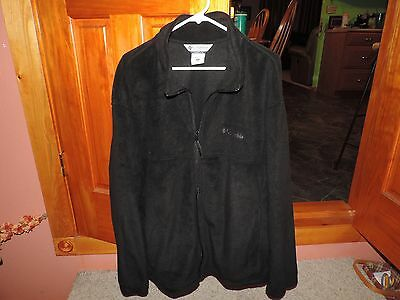 Men's Columbia Black Full Zip Light Weight Fleece Jacket Size XXL Extra large LN