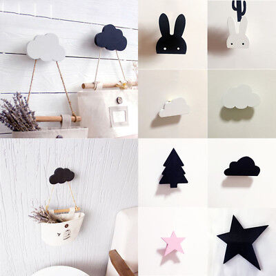 Wooden Single Clothes Hooks Robe Wall Hanger Hat Coat Rabbit Hanging Home Decor
