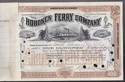 1896 Stock certificate transfer to LEHMAN BROTHERS - Hoboken Ferry  100 SHARES