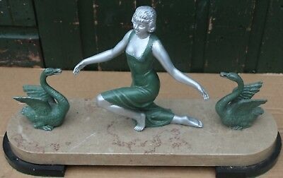 Super Metal Art Deco Type Lady Figure With 2 Swans Mounted On Heavy Marble Base