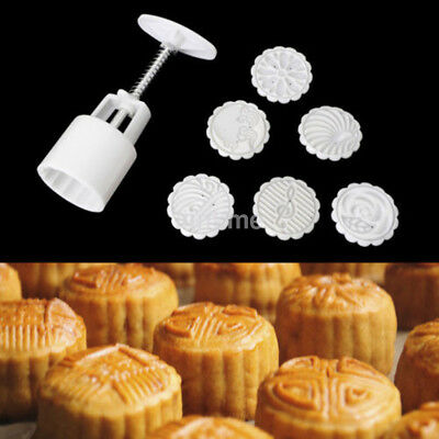 Mooncake Round Mould Flowers Motif Mold Hand Pressure Pastry 50g+6 Stamps New US
