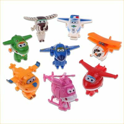 8Pcs TV Animation Super Wings Transforming Plane Characters Toys Christmas Gift
