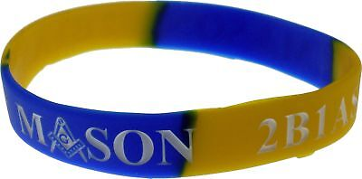 """Mason 2B1 ASK1 Color Swirl Silicone Bracelet [Pack of 2 - Blue/Gold - 8""""]"""