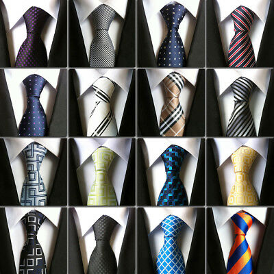 Jacqurd Woven Polyester Silk Business Ties Plain Classic Striped Men's Business
