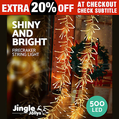 500 LED Christmas String Lights Fairy Party Wedding Outdoor Garden Warm White