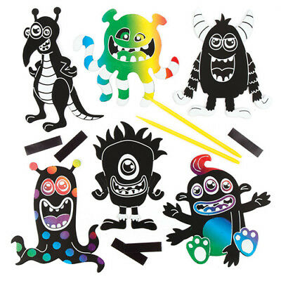 Alien Monsters Scratch Art Magnets Perfect For Crafts & Decorating (Pack of 10)
