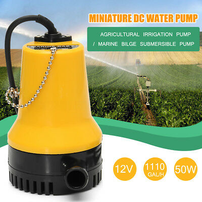 50W 12V 1110GPH 4600rpm Submersible Water Pump Clean Clear Dirty Pool Pond Flood