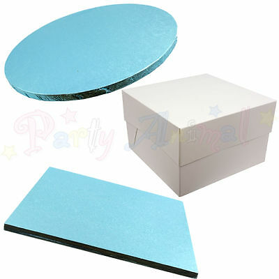 Pack of 5 - Cake Drum Boards and White Boxes - BLUE - Wedding & Sugarcraft