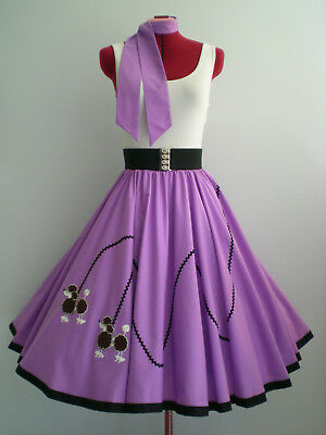 "ROCK N ROLL/ROCKABILLY  ""POODLE"" SKIRT-SCARF L-XL Lilac."