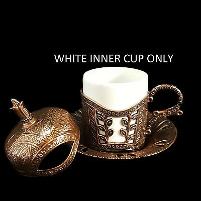 Ottoman Turkish Brass Tea Coffee Saucers White Inner Cups Only - TOP UK SELLER