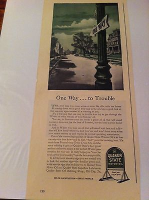 Vintage 1943 Quaker State Motor Oil One Way Street To Trouble Print Art ad