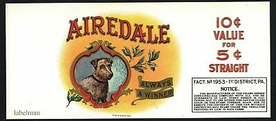 AIREDALE Brand Vintage Cigar Label, Embossed with Dog, Gold Trim, 542