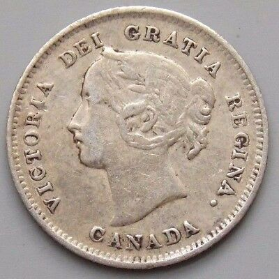1897 Canada Canadian Old 5 Cent Silver Coin Queen Victoria