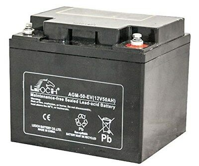12V 42Ah Deep Cycle Lead Acid Battery Leoch AGM-50-EV P4FY#