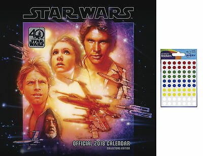 Star Wars 40th Anniversary Official 2018 Calendar - Includes 70 Dot Stickers