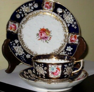 19thc gilded and hand-painted cup, saucer and plate