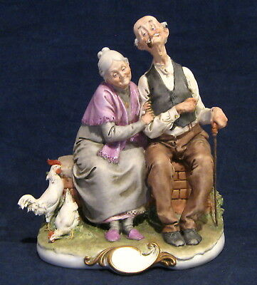 Capodimonte Giuseppe Cappe Happy Old Couple 1959