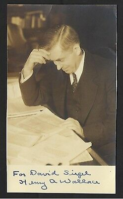 "Henry A. Wallace signed 7""x4"" photo 33rd US Vice President"