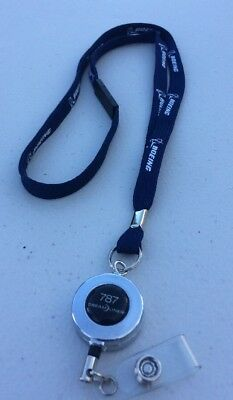 Boeing 787 Dreamliner FLIGHT CREW Pilots BLUE neckstrap with safety clip Lanyard