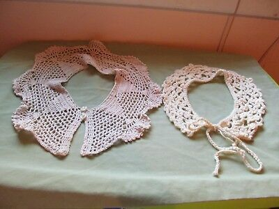 Lot of 2 Vintage Handmaid Crochet Knitted Women's Collars Beige Off White