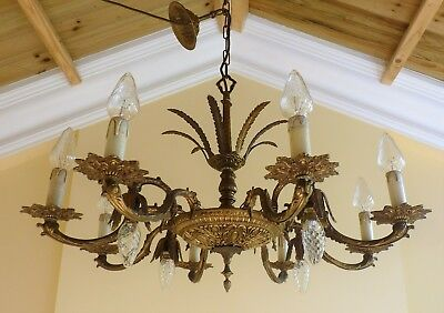 STUNNING 1940s VINTAGE BRASS 12 LIGHT FRENCH ROCOCO CHANDELIER CEILING LIGHT