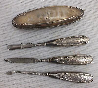 Antique 1902 STERLING SILVER Nail Grooming Set By Davis Moss & Co  - M31