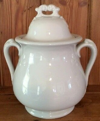 Vintage White Ironstone Covered Biscuit Jar Coffee Or Sugar
